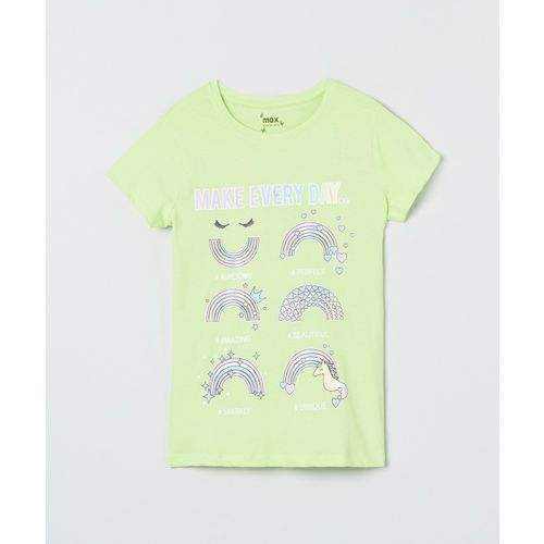 Max Girls Printed Pure Cotton T Shirt(Green, Pack of 1)