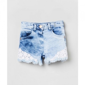 Max Short For Girls Casual Self Design Cotton Blend(Blue, Pack of 1)