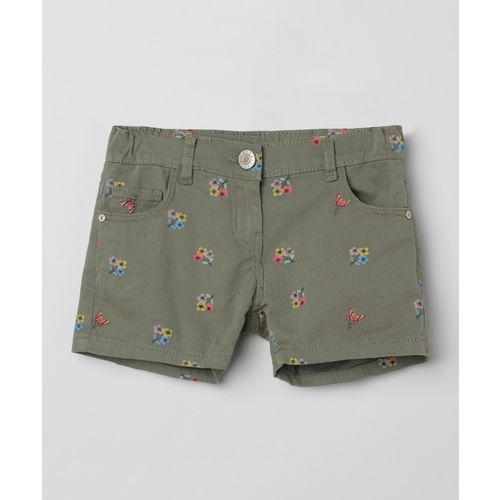 Max Short For Girls Casual Printed Cotton Blend(Dark Green, Pack of 1)