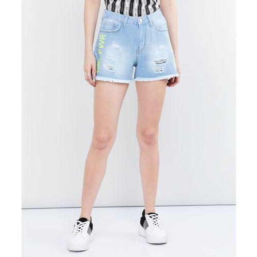 Max Solid Women Blue Denim Shorts