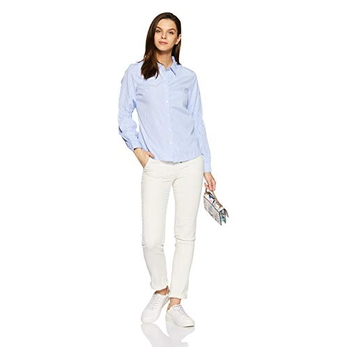 VERO MODA Sky Blue Polyester Long Sleeve Formal Shirt