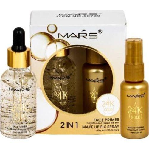 Mars 2 in 1 24 K Gold Primer and Makeup Setting Spray Primer - 60 ml(Transparent)