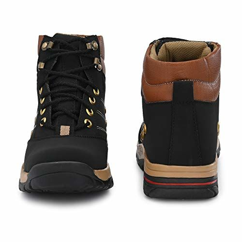 YB BAZAAR Black Synthetic Lace Up High Ankle Boots