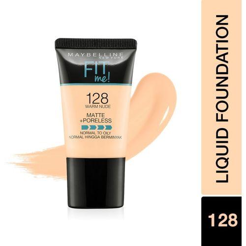 MAYBELLINE NEW YORK Fit Me Matte+Poreless Liquid Tube Foundation(128 Warm skin , 18 ml)