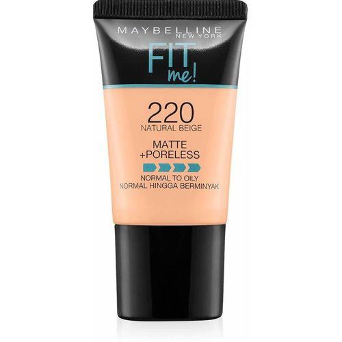 MAYBELLINE NEW YORK Fit Me Matte+Poreless Liquid Foundation Tube, 220 Natural Beige, 18ml Foundation(Black, 18 ml)