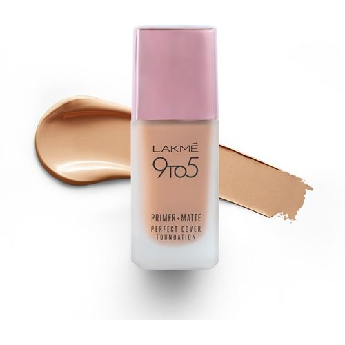 Lakme 9To5 Primer + Matte Perfect Cover Foundation(W240 Warm Beige, 25 ml)