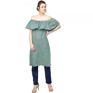 Aks Green Cotton Geometric Print Straight Kurta
