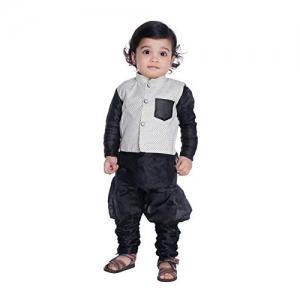 NEW GEN Black Kurta Pajama with Half Jacket