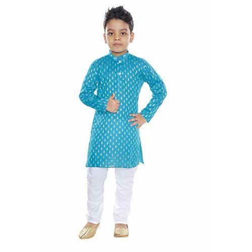 Vesh Boy's Cotton Kurta and Pyjama Set (Aqua, 2-3 Years)