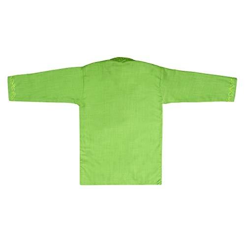 Superminis Green Yellow Embroidered Cotton Kurta with Dhoti