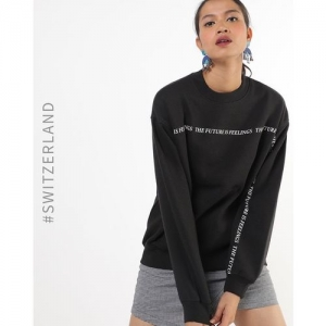TALLY WEiJL Typographic Print Crew-Neck Pullover