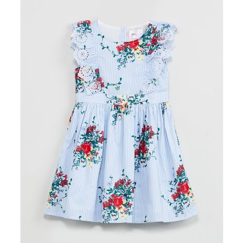 Max Midi/Knee Length Casual Dress(Light Blue, Sleeveless)