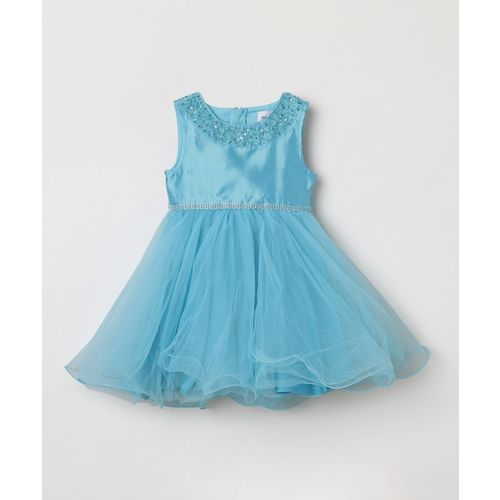 Max Midi/Knee Length Casual Dress(Light Blue, Sleeveless)