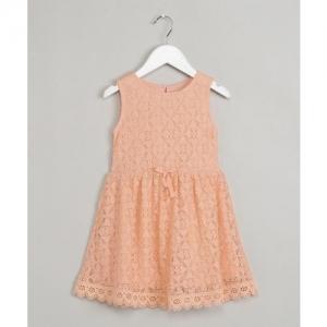 Max Midi/Knee Length Casual Dress(Orange, Sleeveless)
