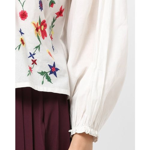 Fusion Drop-Shoulder Tunic with Floral Embroidery