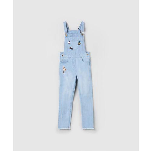 Max Dungaree For Girls Embellished Cotton Blend(Blue, Pack of 1)