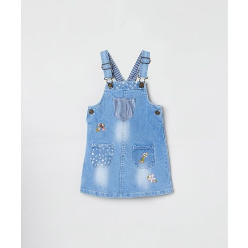 Max Dungaree For Girls Solid Cotton Blend(Blue, Pack of 1)