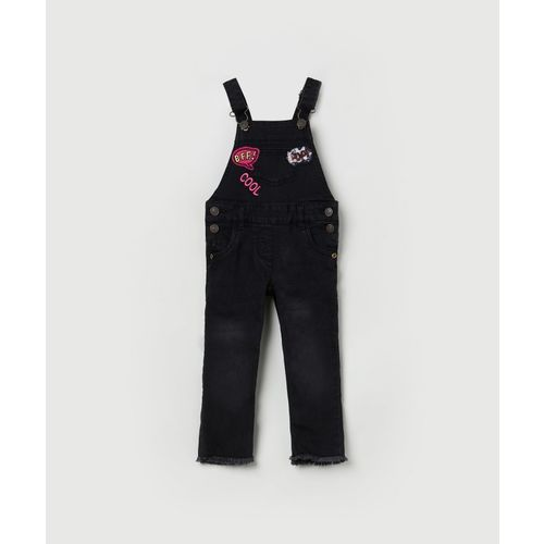 Max Dungaree For Girls Applique Cotton Blend(Black, Pack of 1)