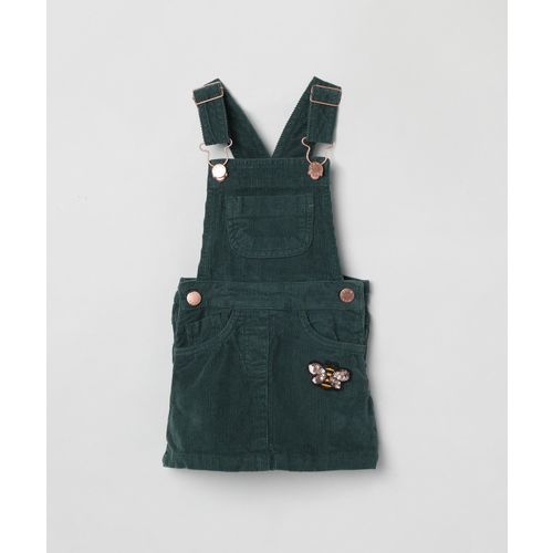 Max Dungaree For Girls Embellished Pure Cotton(Dark Green, Pack of 1)