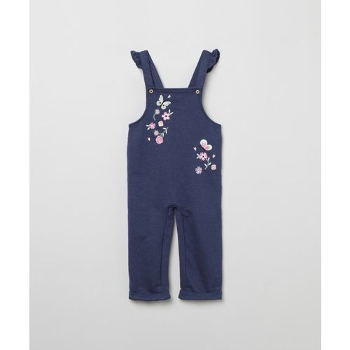Max Dungaree For Girls Embroidered Cotton Blend(Blue, Pack of 1)