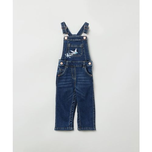 Max Dungaree For Girls Solid Cotton Blend(Dark Blue, Pack of 1)