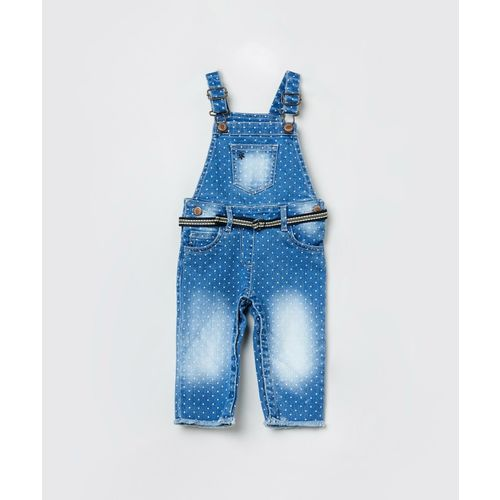 Max Dungaree For Girls Printed Cotton Blend(Blue, Pack of 1)