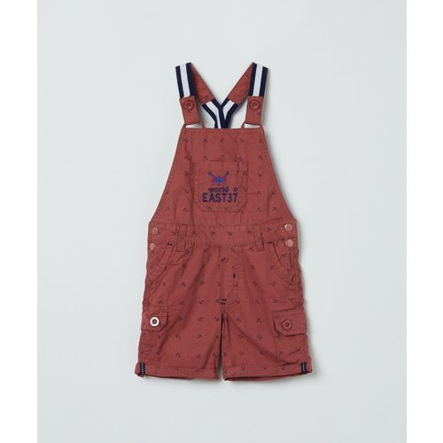 Max Dungaree For Boys Printed Pure Cotton(Maroon, Pack of 1)
