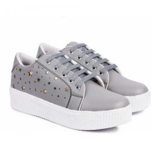 PCW Grey Synthetic Lace Up Sneaker