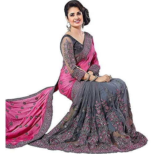 Arohi Designer Grey & Pink Georgette Saree With Unstitched Blouse Piece