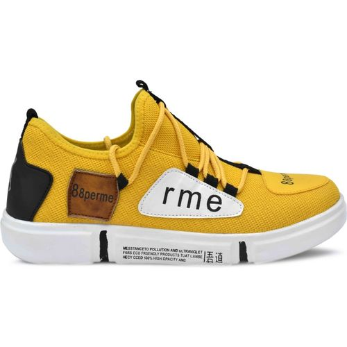 pinstyle MEN/BOY fashion outdoor canvas casual light weight lace-up sneakers sneakers for men (yellow) Sneakers For Men(Yellow)