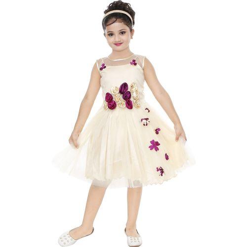 CELEBRITY CLUB Girls Midi/Knee Length Festive/Wedding Dress(Purple, Sleeveless)