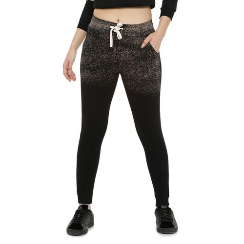 Campus Sutra Speckle Print Joggers with Drawstring Waist