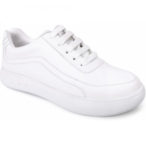 Vendoz White Artificial Leather Round Toe Casual Shoes