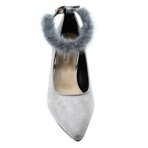 Shuberry Grey Synthetic  Pointed Toe Pumps
