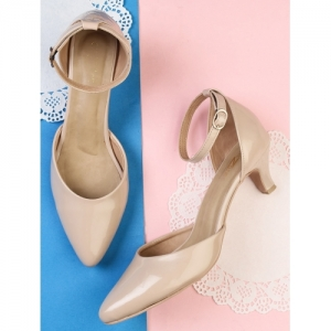 Shezone Beige Patent Leather Pointed Sandals