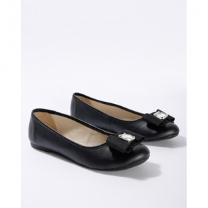 Carlton London Black Synthetic Slip On Ballerinas