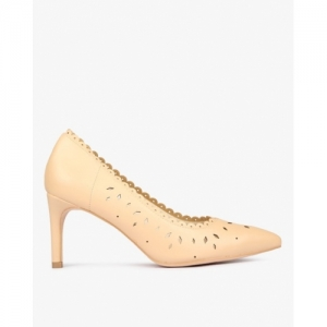 ALLEN SOLLY Beige Synthetic Laser-Cut Pointed-Toe Pumps