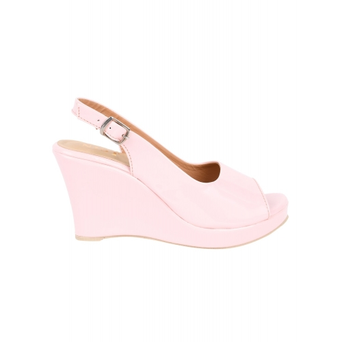 Gnist Pink Patent Leather Back Strap Wedges peeptoes