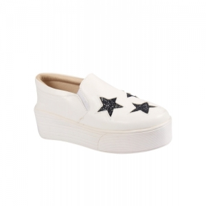 Anand Archies White Canvas Slip On Printed Casual Shoes