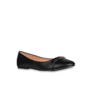 Addons Black Polyurethane Slip On Ballets Flat
