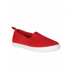People Red Canvas Slip On Solid Casual Shoes
