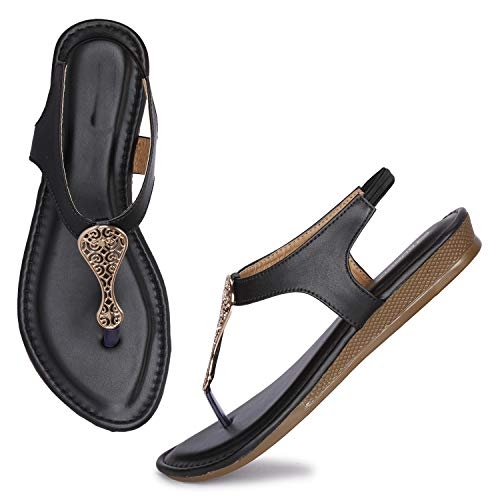 OZZY Black Synthetic Pull on Flat Sandal