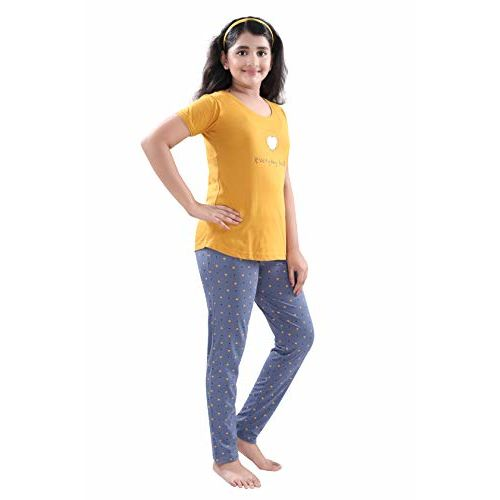 9shines Label Hosiery Cotton Printed Pyjama Set   Night Suit   Night Dress for Girls. Mustard Yellow
