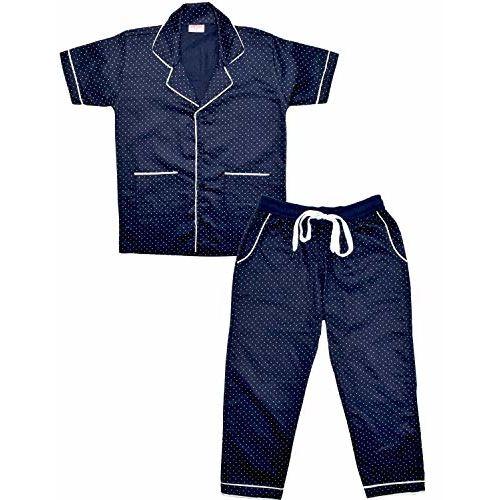 SHOPMOZO Unisex Pure Cotton Polka Dot Printed Short Sleeve Night Suit for Boys and Girls Pyjama Top Combo Set (SM-00283UNISEXSWPT_9-10 Years NavyBlue)