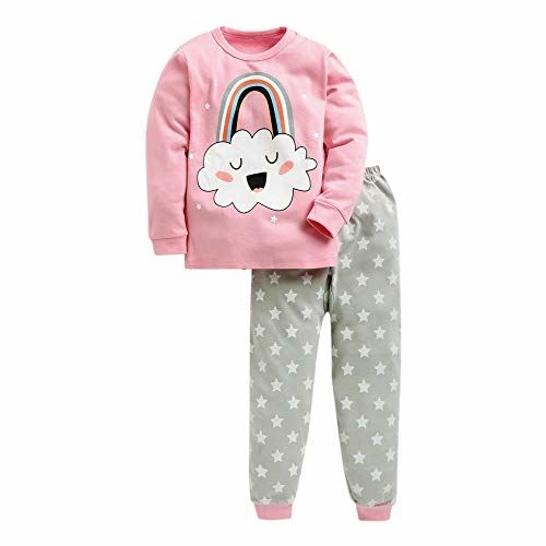 Hopscotch Cotton Rainbow Print Full Sleeves Top and Pyjama Set in Pink Color for Unisex, Age: 4-5 Years (CB9-2120099)