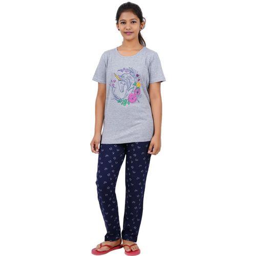 Gowri Girls Printed Grey Top & Pyjama Set
