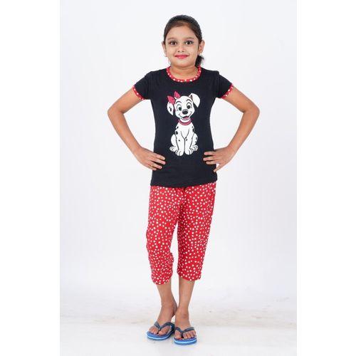 EXN Girls Animal Print, Polka Print Black, Red Night Suit Set