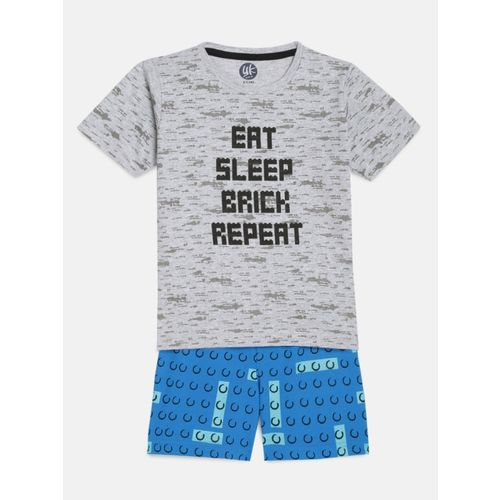 Yk Boys Printed Grey Top & Shorts Set