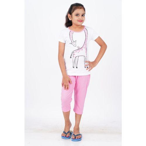 EXN Girls Animal Print White, Pink Top & Pyjama Set