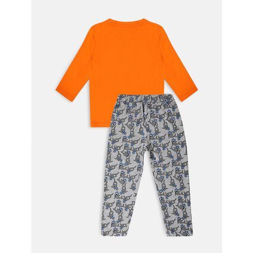 Li'l Tomatoes orange cotton pyjama set nightwear with free mask